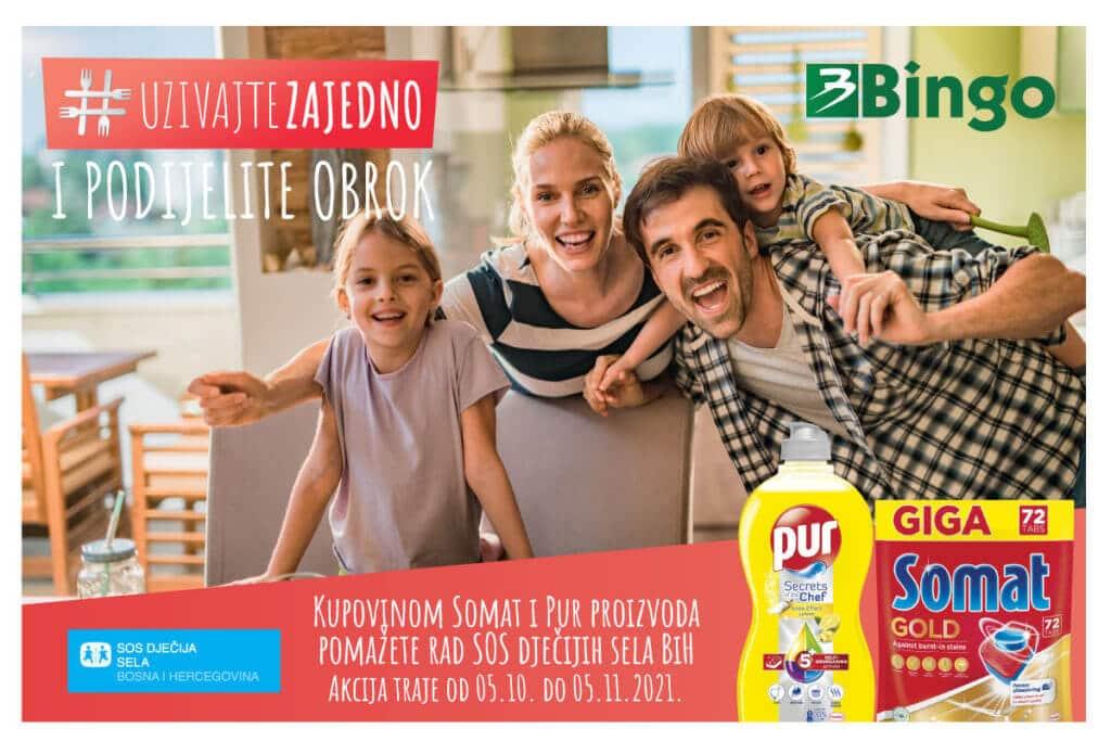 #UŽIVAJTE ZAJEDNO I PODIJELITE OBROK/ Kupovinom Somat i Pur proizvoda u Bingo trgovinama donirate SOS Dječijim selima BiH